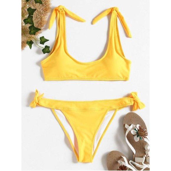 ZAFUL Tie Side Bralette Bikini Set Yellow